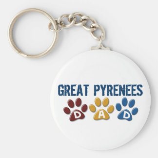 GREAT PYRENEES Dad Paw Print 1 Basic Round Button Keychain