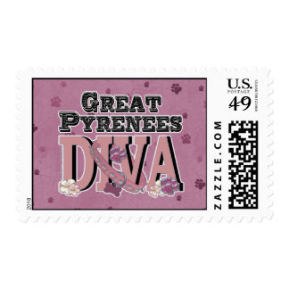 Great Pyrenees DIVA Postage Stamp