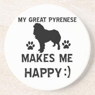 Great pyrenees dog designs beverage coasters