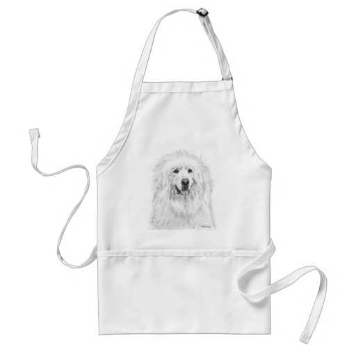 Great Pyrenees Drawing Adult Apron