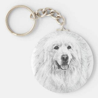 Great Pyrenees Drawing Basic Round Button Keychain