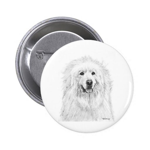 Great Pyrenees Drawing Button