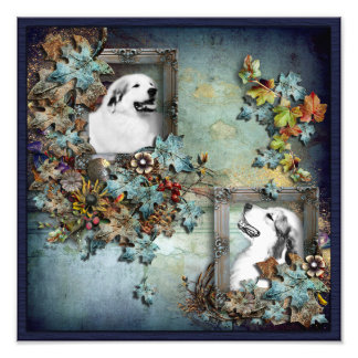 Great Pyrenees Fall Design Print - Bl Photographic Print