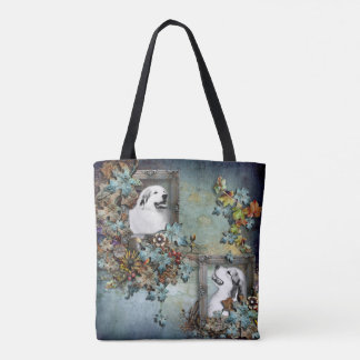 """Great Pyrenees """"Father and Son"""" Design Tote Bag"""