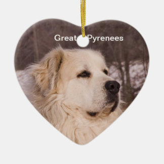 Great Pyrenees Heart Ceramic Ornament