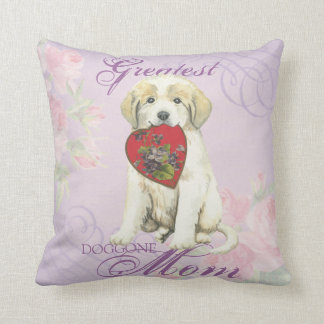 Great Pyrenees Heart Mom Throw Pillow