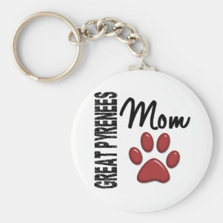 Great Pyrenees Mom 2 Basic Round Button Keychain