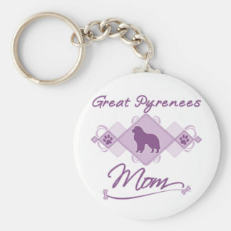 Great Pyrenees Mom Basic Round Button Keychain