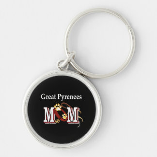 Great Pyrenees Mom Silver-Colored Round Keychain