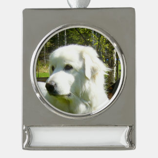 great pyrenees.png silver plated banner ornament