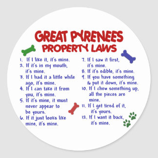 GREAT PYRENEES Property Laws 2 Classic Round Sticker