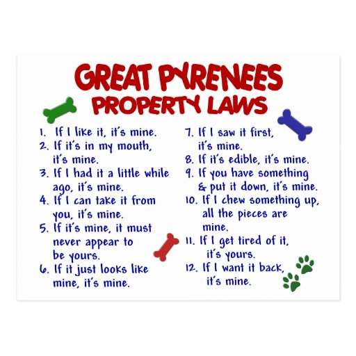 GREAT PYRENEES Property Laws 2 Post Card