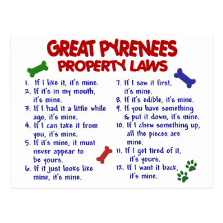 GREAT PYRENEES Property Laws 2 Postcard