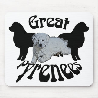 Great Pyrenees Puppy and 2 Silhouettes Mouse Pad