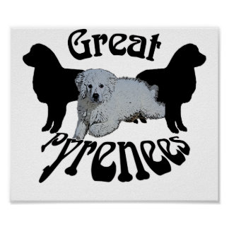GREAT PYRENEES PUPPY AND 2 SILHOUETTES POSTER