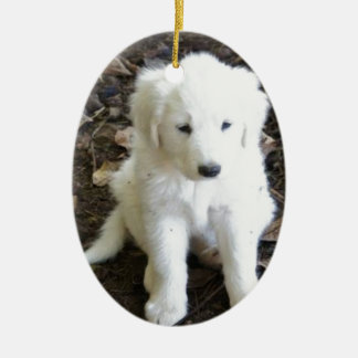 Great Pyrenees Puppy Rose Ceramic Ornament