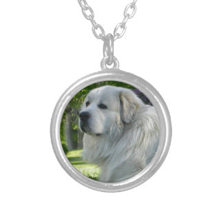 Great Pyrenees Round Pendant Necklace