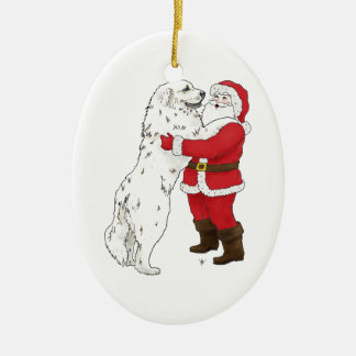 Great Pyrenees Santa Ornament