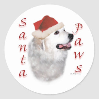 Great Pyrenees Santa Paws Classic Round Sticker