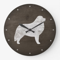 Great Pyrenees Silhouette Rustic Large Clock