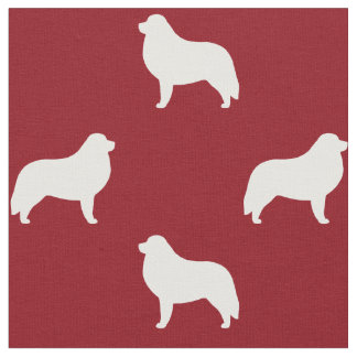 Great Pyrenees Silhouettes Pattern Red Fabric