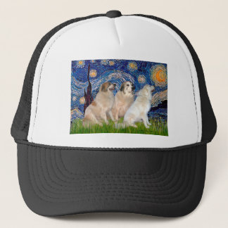 Great Pyrenees (three) - Starry Night Trucker Hat