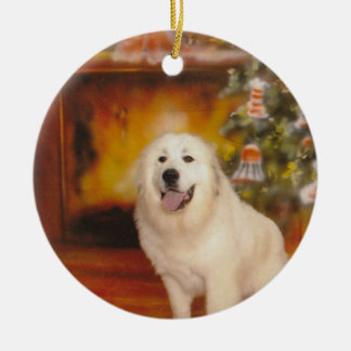 Great Pyrenees waiting on Santa Ceramic Ornament