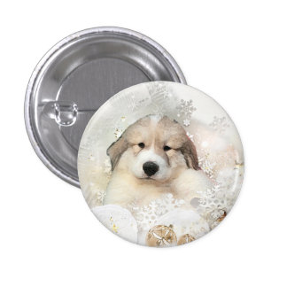 Great Pyrenees Watercolor Puppy Holiday Pinback Button