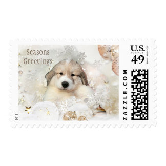 Great Pyrenees Watercolor Puppy Holiday Postage