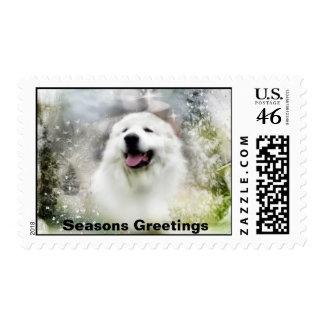 Great Pyrenees Winter Scene/Seasons Greetings Postage Stamps