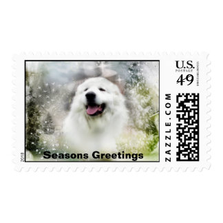 Great Pyrenees Winter Scene/Seasons Greetings Postage Stamp
