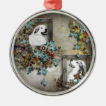 great pyreness dog round metal christmas ornament