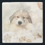 """Great Pyrnees Watercolor Puppy Stone Coaster<br><div class=""""desc"""">Great Pyrnees Watercolor Puppy - Choose your texture</div>"""