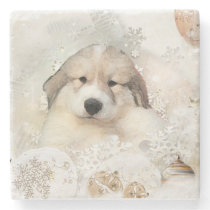 Great Pyrnees Watercolor Puppy Stone Coaster