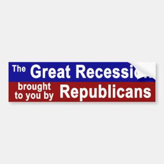 Great Recession 1 Car Bumper Sticker