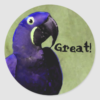 GREAT reward sticker with Blue Parrot