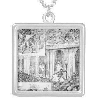 Great Riots in London Square Pendant Necklace
