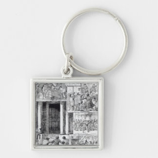 Great Riots in London Silver-Colored Square Keychain