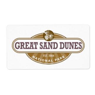Great Sand Dunes National Park Label
