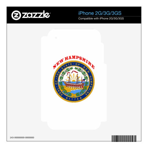 Great Seal Of  State New Hampshire Skin For iPhone 3GS