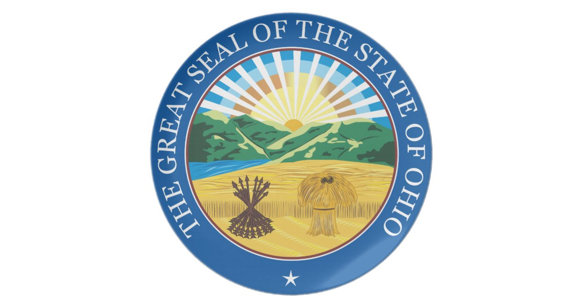 Great Seal Of The State Of Ohio Melamine Plate Zazzle Com