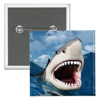Great Shark White Pin Cuadrada 5 Cm