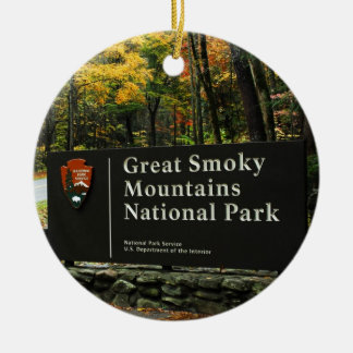 Great Smoky Mountain Autumn Sign Christmas Ceramic Ornament
