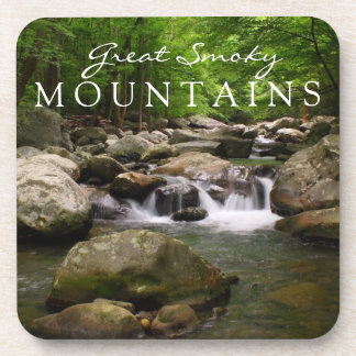 Great Smoky Mountains Cascade Waterfall Stream Beverage Coasters