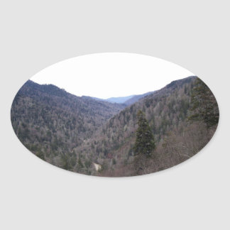 Great Smoky Mountains Cold Day Oval Sticker
