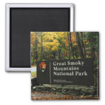 Great Smoky Mountains National Park Autumn Sign 2 Inch Square Magnet