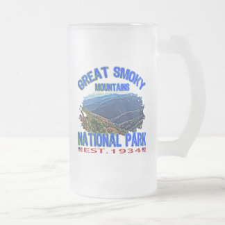 Great Smoky Mountains National Park Frosted Glass Beer Mug