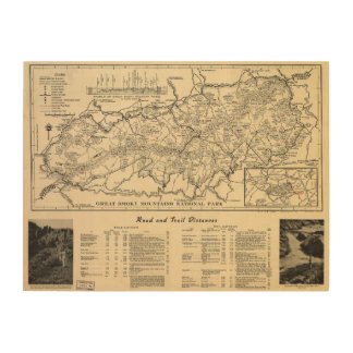 Great Smoky Mountains National Park Map (1941) Wood Wall Decor
