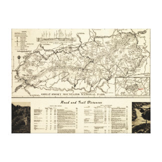 Great Smoky Mountains National Park Map Canvas Print