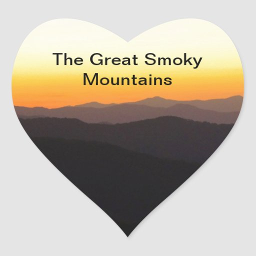Great Smoky Mountains Pegatina Corazón Personalizadas